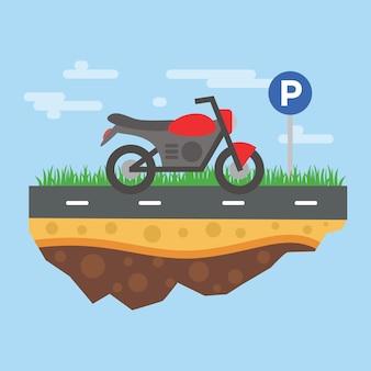 Motorcycle parking illustration