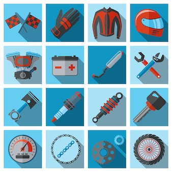 Motorcycle parts and elements set on flat style