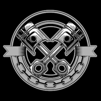 Motorcycle piston emblem