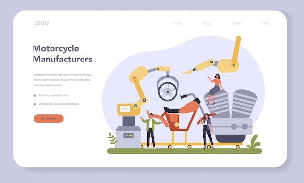 Motorcycle production industry web template or landing page. vehicle part on the machinery line with robotic hands. machine engineering and manufacturing, isolated flat illustration
