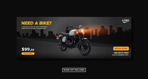 Motorcycle promotion social media cover banner with round podium template premium vector