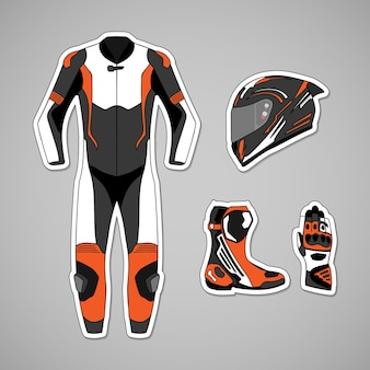 Motorcycle protective gear for racing track day and circuit