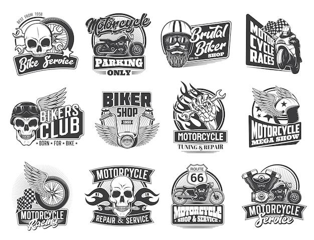 Мотоциклетные гонки и байкерские символы гаража
