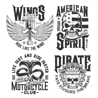 Motorcycle races club t-shirt prints with skull and wings, vector car rally signs. american spirit stars flag and engine on wings, snake and skull in crown, motor sport and custom chopper bike garage
