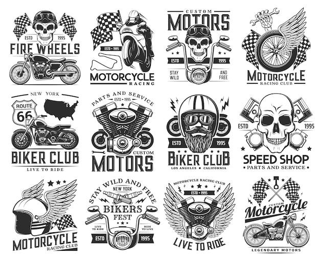 오토바이 경주와 바이 커 클럽 새겨진 아이콘 세트
