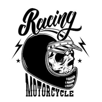 オートバイレース。レーサーヘルメットのバイカースカル。