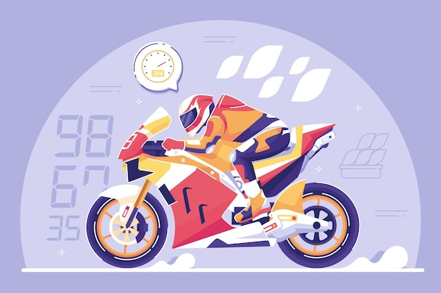 Motorcycle racing flat design illustration