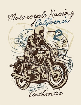 Motorcycle racing illustration design