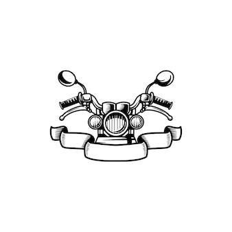 Motorcycle retro vintage hand drawn