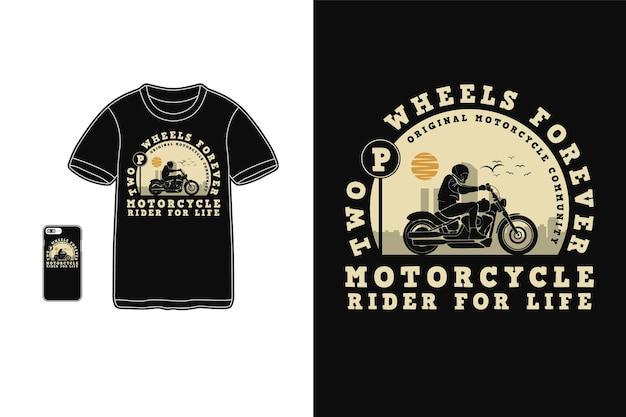 Tシャツシルエットレトロスタイルのライフデザインのためのオートバイライダー