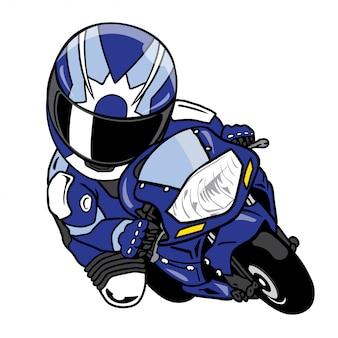Мотоциклист ведет за собой кривую