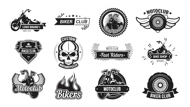 Motorcycle riders club emblem set