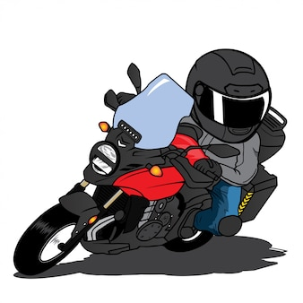 Motorcycle riding fast cornering cartoon vector