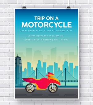 Motorcycle on a road illustration on brick wall background concept design