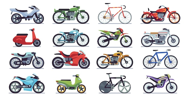 Motorcycle and scooter set. bikes and choppers, speed race and delivery retro and modern mountain vehicles travel and sport flat isolated vector motor transport detail pictogram collection