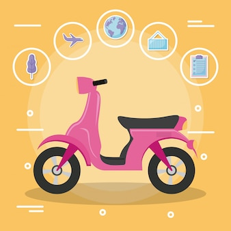 Motorcycle scooter with icon set