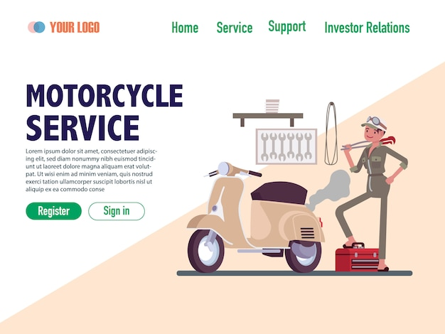 Motorcycle service flat design web page templates