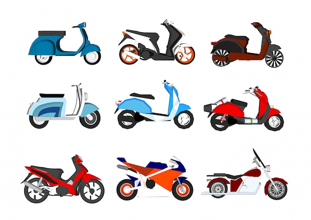 Motorcycle set isolated