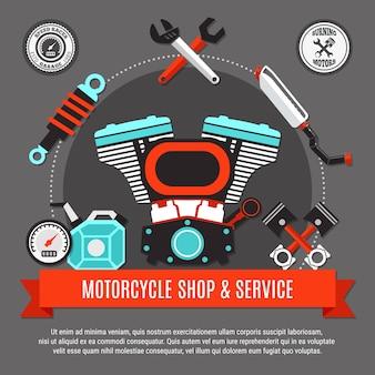 Мотоциклетный магазин и концепция дизайна обслуживания с двигателем, поршнями, спидометром, выхлопным гаечным ключом, декоративные значки с плоским экраном