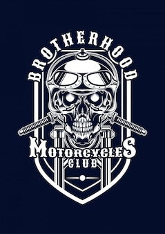 Motorcycle skull illustration for t-shirt