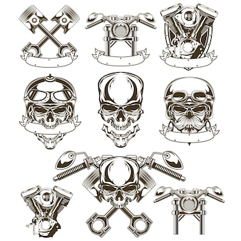 Motorcycle skull logo set