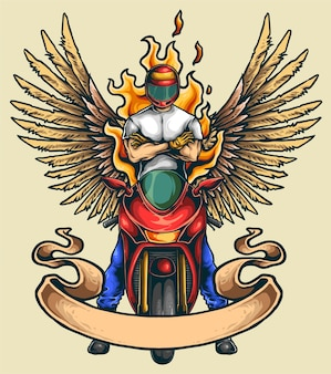 Motorcycle sport club illustration with wings