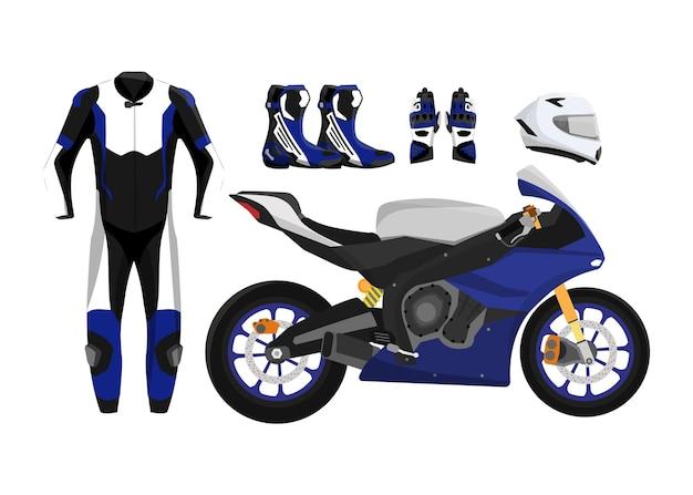 レーシングギア、オートバイ保護装置を備えたオートバイスタイルのスポーツ