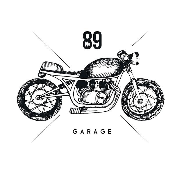 Мотоцикл стильный вектор. графическая иллюстрация старинного мотоцикла