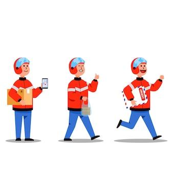오토바이 택시 라이더 배달 서비스 맨