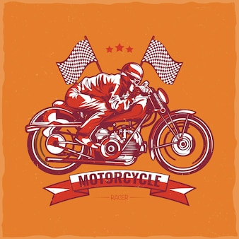 Motorcycle theme t-shirt design with illustration of biker riding on vintage motorcycle
