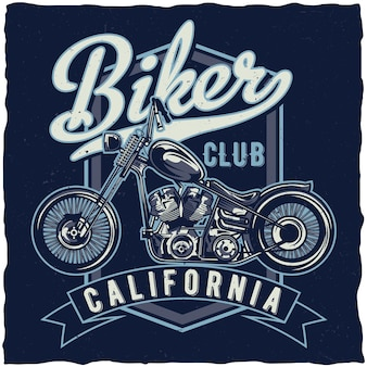 Motorcycle theme t-shirt  design with illustration of custum bike