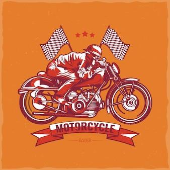 ヴィンテージバイクに乗っているバイカーのイラストとオートバイのテーマのtシャツのデザイン