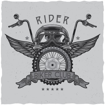 Motorcycle theme t-shirt label design with illustration of helmet, glasses, wheel and wings