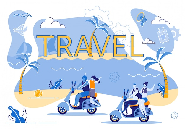 Motorcycle travel along coast an exotic island