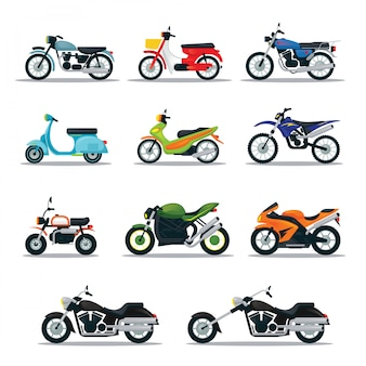 Motorcycle types and models objects set, multicolor