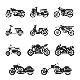 Motorcycle types objects black and white, silhouette set