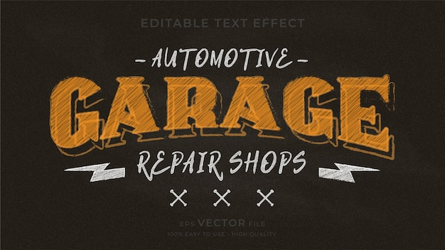 Motorcycle typography chalkboard editable text effect