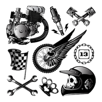 Motorcycle vector elements set in hand drawn style