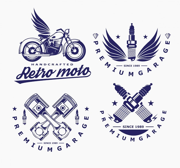 Motorcycle vector, glow plug icon, transport logo.