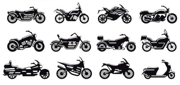 オートバイ車両のシルエット。現代のスピードレースバイク、スクーター、チョッパーの側面図、オートバイボディシルエットイラストアイコンセット。配送またはモトクロス用の黒いモノクロバイク