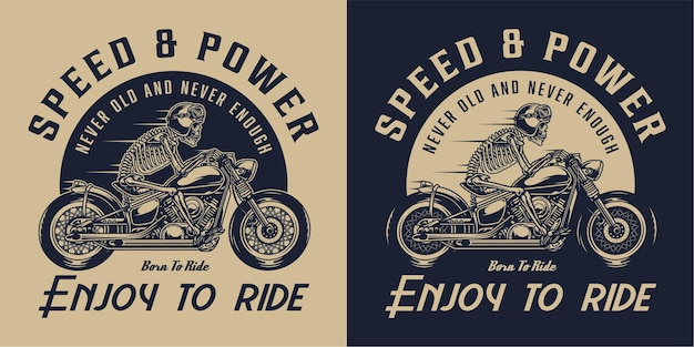 モノクロスタイルでバイクに乗るスケルトンモーターサイクリストとオートバイのヴィンテージラベル