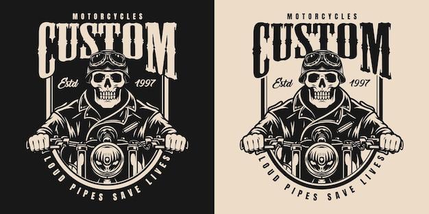 Винтажная монохромная этикетка мотоцикла со скелетом в байкерских очках и куртке для езды на мотоцикле