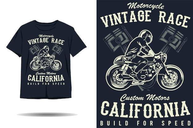 Motorcycle vintage race custom motors california silhouette tshirt design