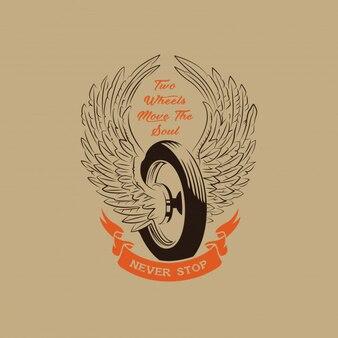 Motorcycle wheel club illustration