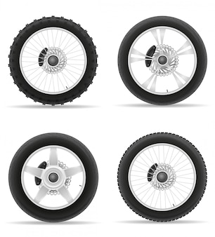 Motorcycle wheel tire from the disk set icons.