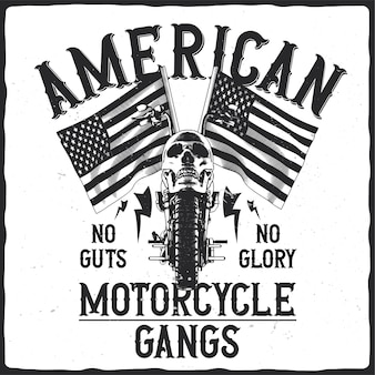 Motorcycle with skull and american flags