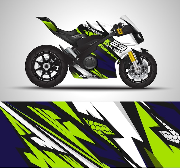 Motorcycle wrap decal and vinyl sticker illustration