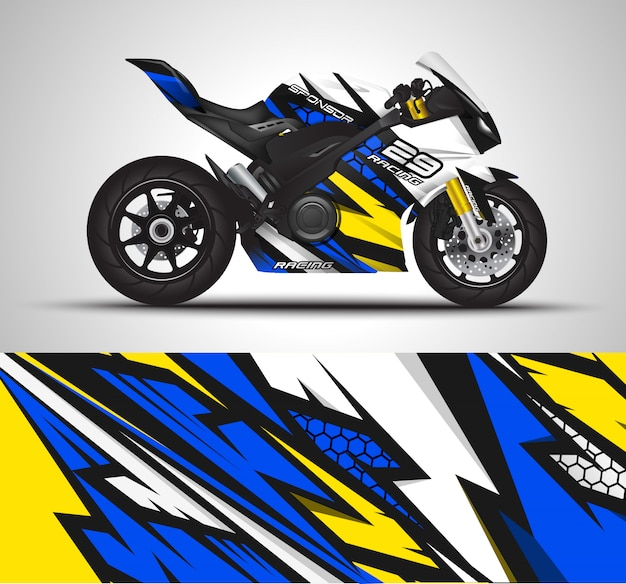 Motorcycle wrap decal and vinyl sticker illustration.