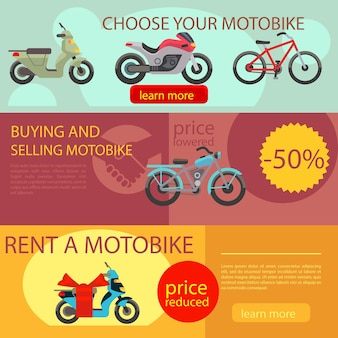 Motorcycles banners vector