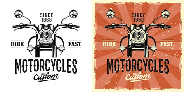 Motorcycles custom service vector emblem, badge, label, logo or t-shirt print in two styles monochrome and vintage colored with removable grunge textures